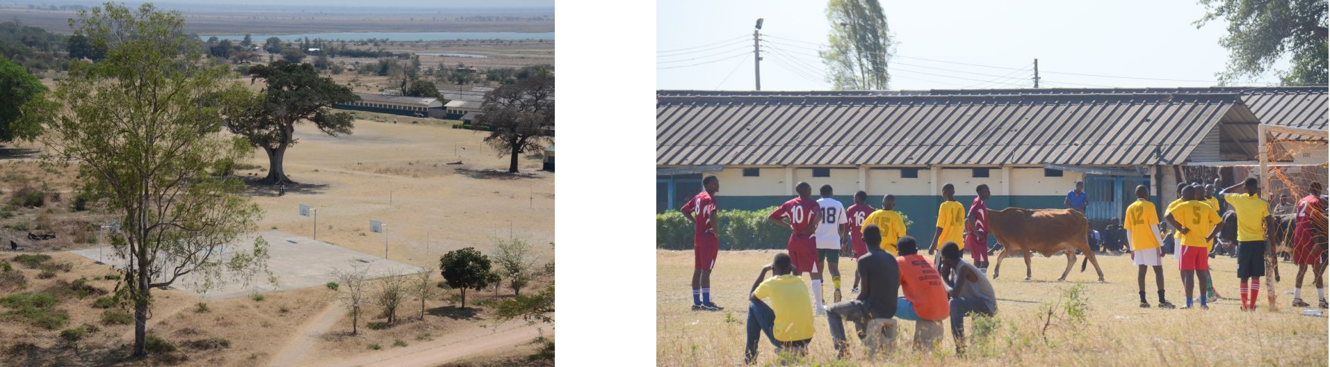 August 2015: Basketball court (left), Football in Namwala