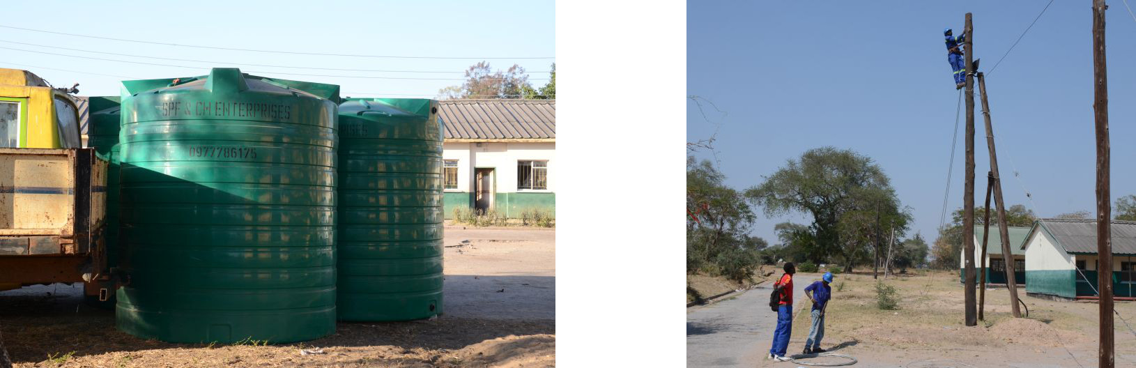 August 2015: New watercontainers (left) and celectricity poles (PTA projects)