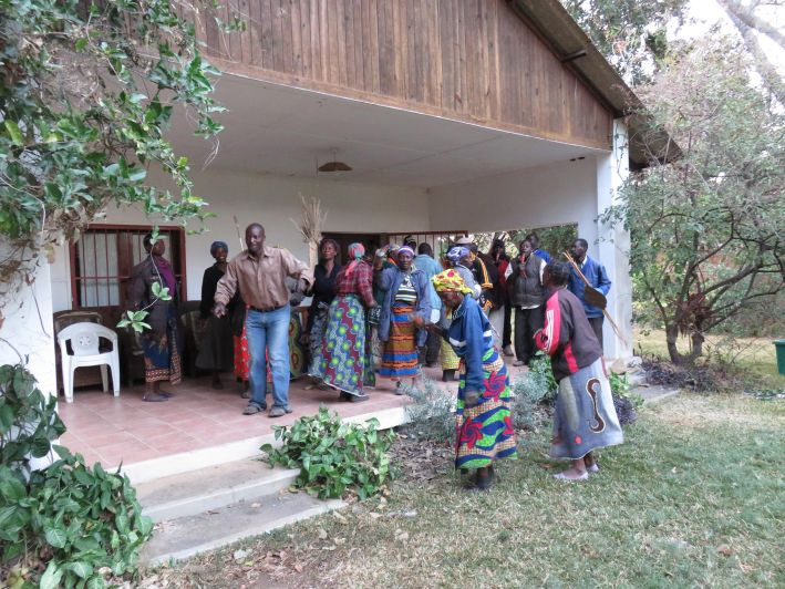 Traditional Tonga-funeral celebration in front of the house of Elizabeth Colson