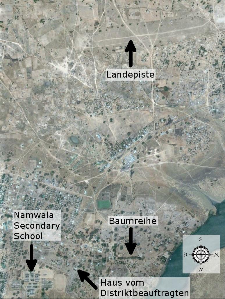 Aktuelle Luftaufnahme von Namwala (Quelle: Google)