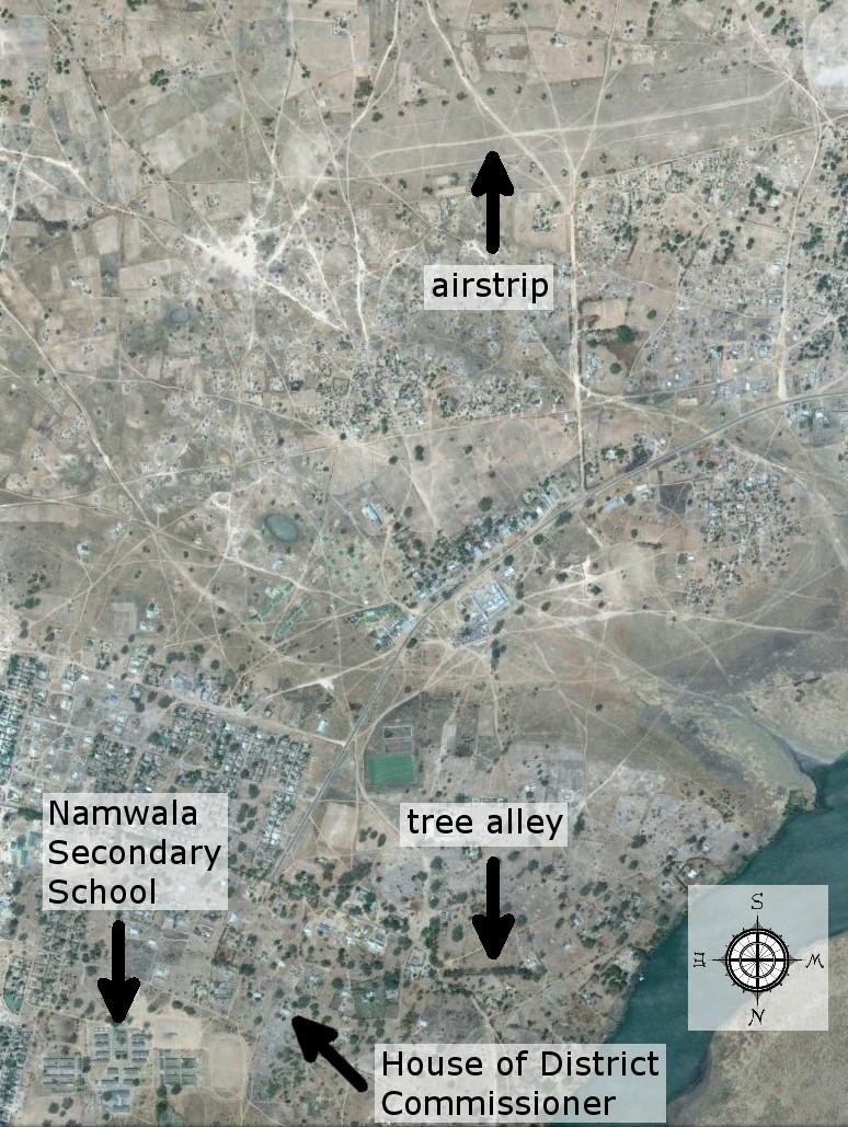 Actual areal view of Namwala (Source: Google)