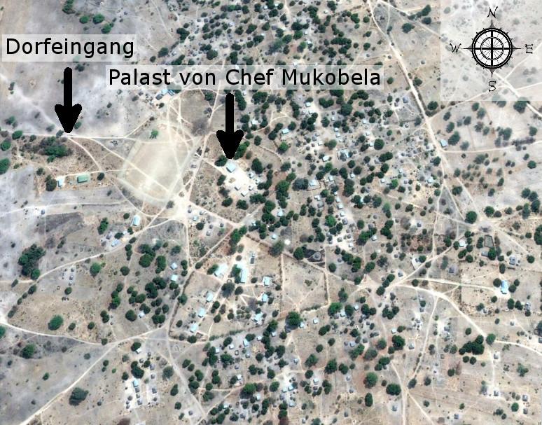 Baambwe, der heutige Wohnort von Chief Mukobela (Quelle: Google)